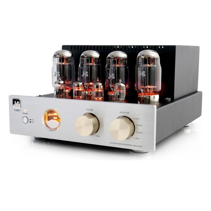 JS 淇譽 V2801 真空管綜合擴大機 採用J.J. 12AU7真空管,著名的雙三級管,音色甜美。