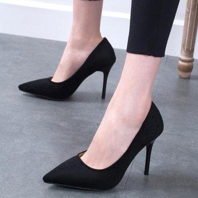 日和生活館 少女高跟鞋細跟女鞋尖頭黑色職業網紅工作單鞋婚鞋S686