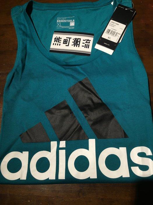 台灣公司貨Adidas Logo Tank 背心 綠 湖水綠 運動背心 AK1804 愛迪達 黑 灰 綠 三色限定商品