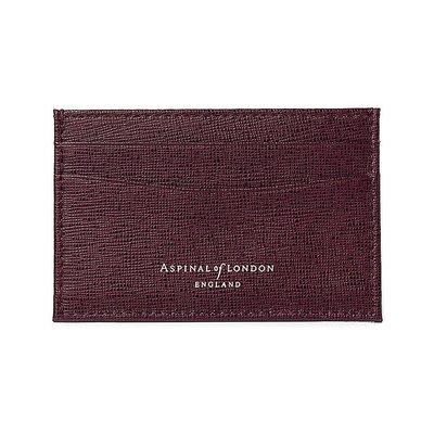 [要預購] 英國代購 ASPINAL OF LONDON 超薄saffiano皮革卡夾 酒紅色