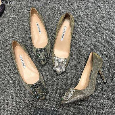 MB03-高質感手工訂製鞋-璀璨進口捷克雪花鑽水鑽幻彩金絲尖頭平底鞋
