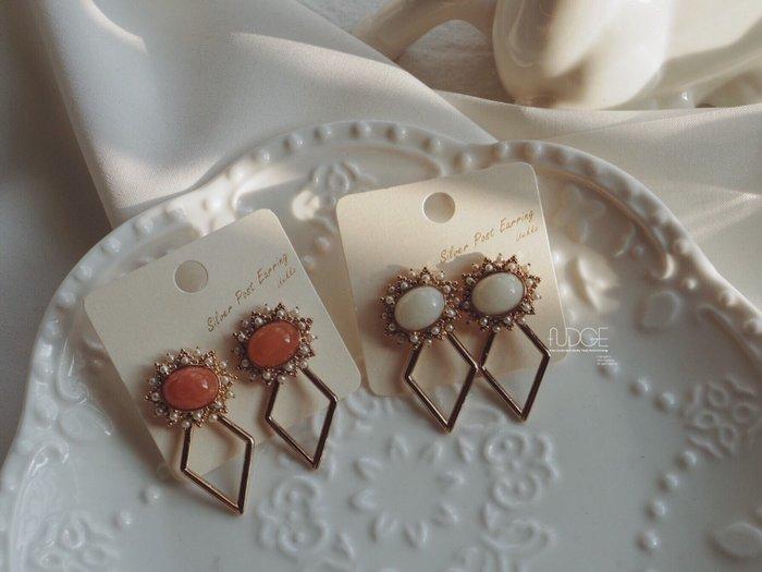 FUDGE法橘 / 正韓 古典法式珍珠寶石菱形垂墜耳環/925純銀針/LE181181
