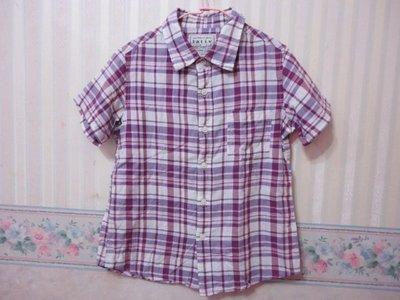 一元起標~lativ~格紋短袖襯衫~SIZE:130