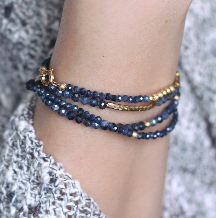 織夜__天然石四圈手鍊 切角藍寶石Sapphire 24K金純銅幾何 閃砂珠