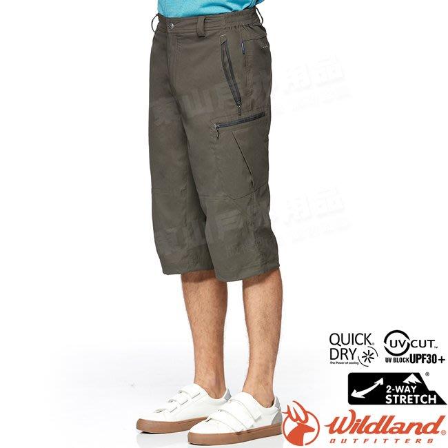 Wildland 荒野 0A81372-112長春藤綠 男彈性抗UV貼袋七分褲/吸濕排汗/輕薄透氣/登山運動/排汗工作褲