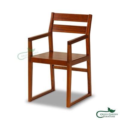 紐約 柚木扶手餐椅【大綠地家具】100%印尼柚木實木/經典柚木/書房椅/歐風餐廳/絕版出清