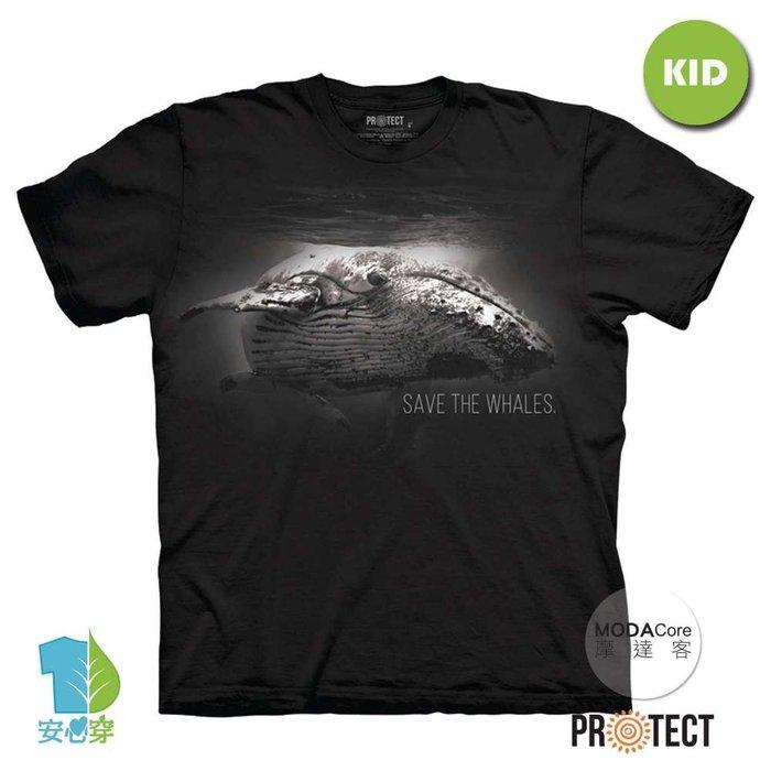 摩達客-(預購)美國The Mountain保育系列 拯救鯨魚 兒童黑色純棉短袖T恤-TMP190104039