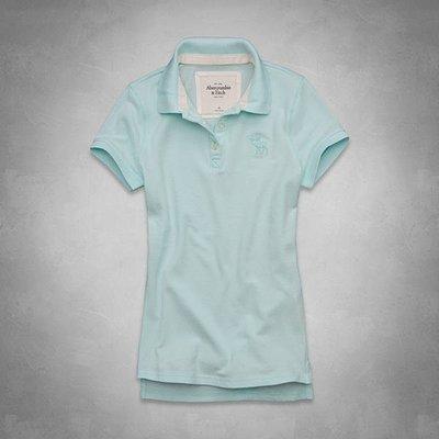 Maple麋鹿小舖 Abercrombie&Fitch * AF 女生水藍色POLO衫*( 現貨L號 )