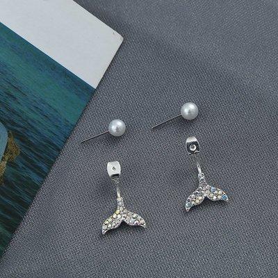 新款飾品新款吊墜一款兩戴美人魚尾后掛式鑲鉆珍珠耳環女日韓個性百搭耳釘