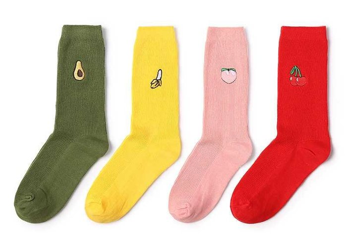 【現貨不用等】新款   红色櫻桃 黄色香蕉 棉襪 襪子 日系 刺繡 水果 可愛 少女 女襪 中筒襪