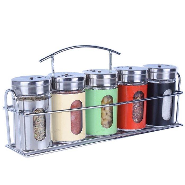 調料盒套裝玻璃調味罐廚房用品調料瓶彩色調味瓶套裝6件套