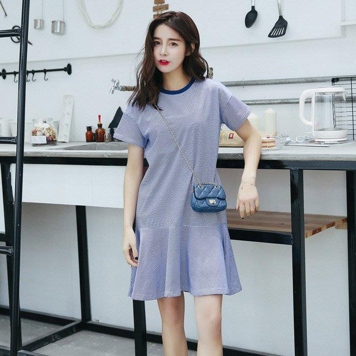 【愛天使孕婦裝】93560彈性棉 海軍風舒適洋裝 孕婦裝