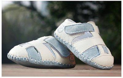 鞋鞋樂園-德國設計-藍色舒適牛皮磨砂底涼鞋-學步鞋-寶寶鞋-嬰兒鞋-童鞋-魔術貼設計~彌月送禮-特價1雙220元