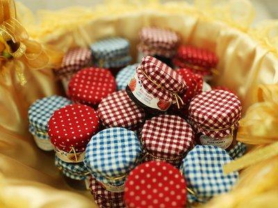 LoverQ 幸福點點Hero果醬 浴帽款 * 二進小物 二次進場 迎賓禮 送客禮 婚禮小物 瑞士 蜂蜜 格子 花布