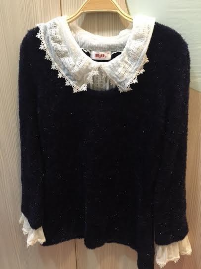 小花別針、專櫃【h2o】假兩件蕾絲領甜美氣質毛衣