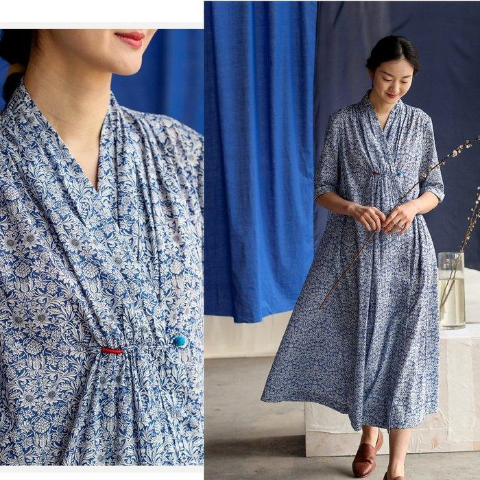 【子芸芳】苧麻數碼印花青花瓷印花v領中國風袍子連衣裙