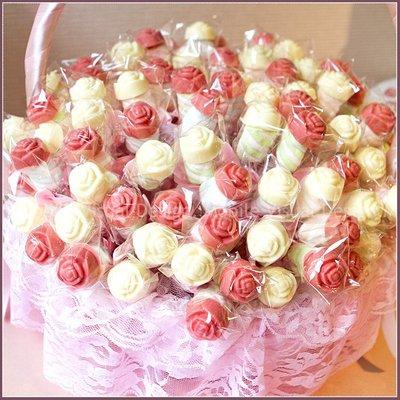 [鍾愛]玫瑰巧克力棉花糖棒X100支(2色各半)+大提籃X1個(限低溫宅配)-情人節活動禮贈品/來店禮/二次進場幸福朵朵