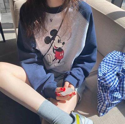 正韓🇰🇷迪士尼米奇拼色棉長袖T恤sal9966 藍/黑