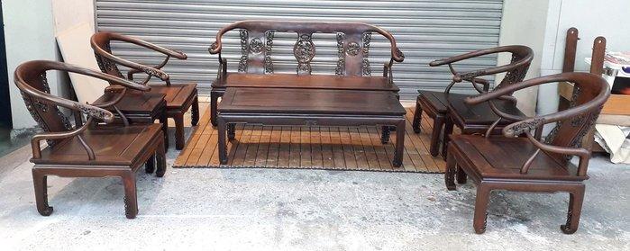 台中二手家具 西屯樂居二手傢俱館 A0203AJJB 酸枝木沙發8件組椅 實木木板椅/客廳桌椅/日式條子沙發組