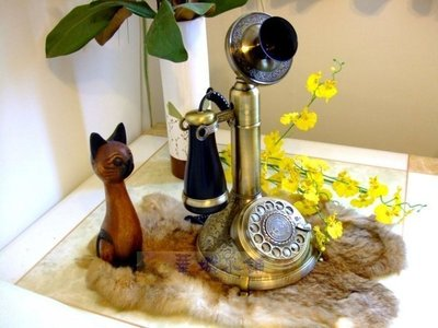 145華城小鋪** 復古電話 仿古電話 家用有線電話 手繪古銅電話 懸掛式古銅握筒復古電話