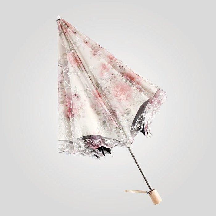 粉紅玫瑰精品屋~高檔玫瑰蕾絲公主陽傘折叠晴雨傘~三折傘