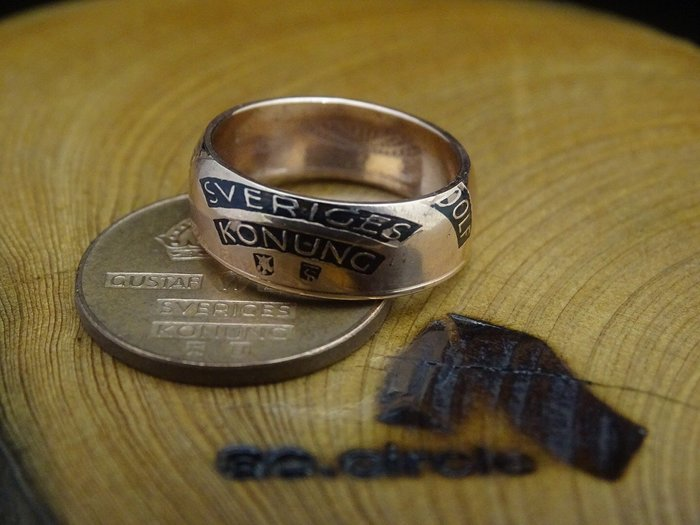 ao.circle 奢扣 1960~1970年代 瑞典2 ORE 紫銅幣 {玫瑰金色} 客製化 手工戒指 皇冠
