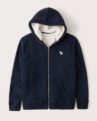 A&F  Sherpa-Lined Full-Zip Exploded Icon Hood男生保暖外套S~L號現貨在台灣