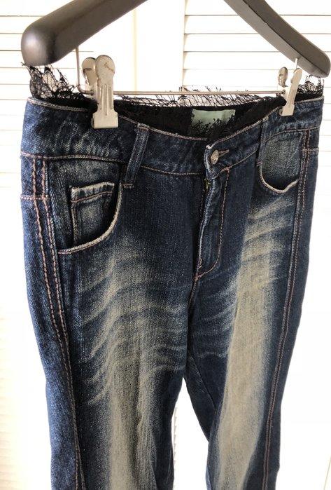 32腰 Isabelle Wen溫慶珠 黑蕾斯水鑽牛仔褲👖