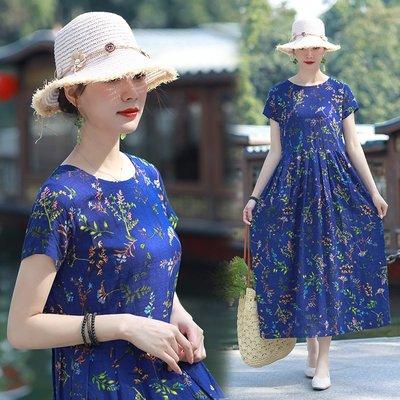 民俗風女裝 夏季新款復古棉麻大碼寬松顯瘦圓領韓版碎花長款連衣裙