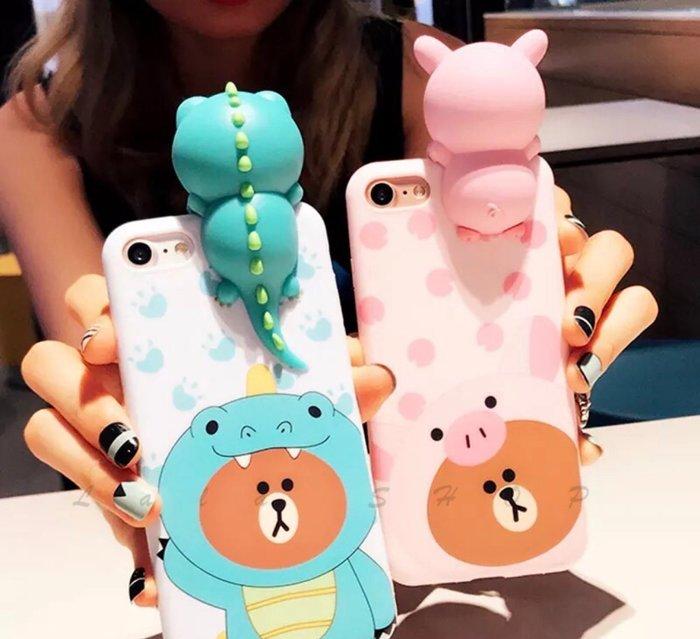 立體熊大 iphone6 7 8 plus 趴趴熊 oppo r11 r9s f1s 可愛