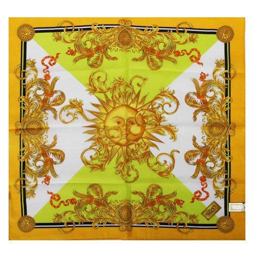 【姊只賣真貨】VERSACE 凡賽斯 古典藝術風太陽圖騰領帕巾(黃色/橘色)