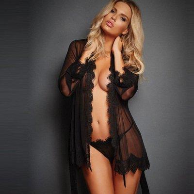 歐美系透明網紗開襟綁帶性感睡衣睡袍-718-7 薄紗浴袍 居家睡袍 情趣性感睡衣內衣用品