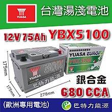YUASA湯淺YBX5100銀高性能電池 SMF 75AH 680A