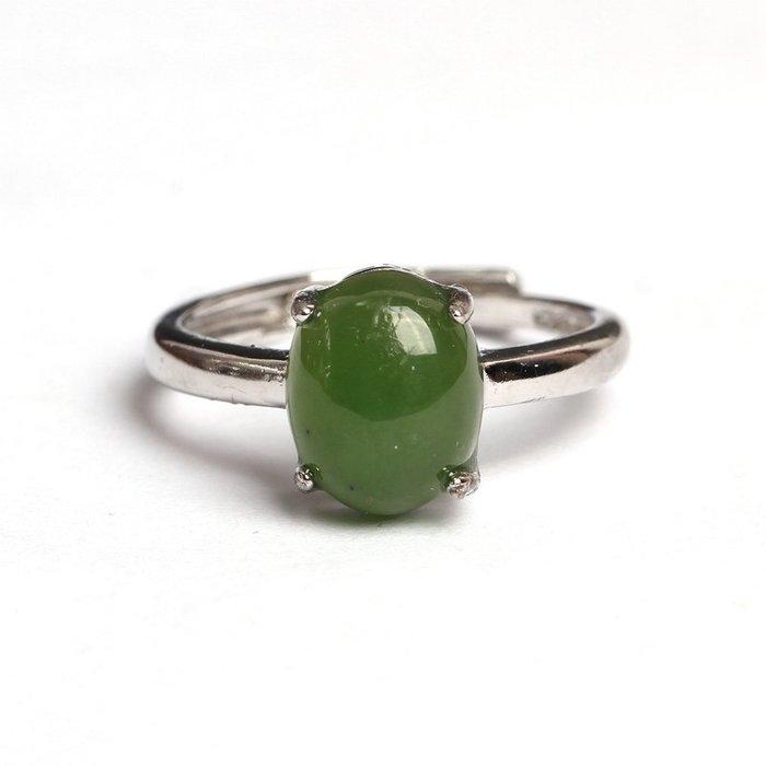 禧禧雜貨店-俄羅斯碧玉戒指活口戒指蛋面綠色鑲嵌戒指特價