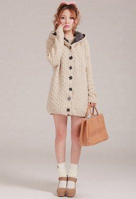 韓購甜美加絨連帽毛衣外套(白) J-11468