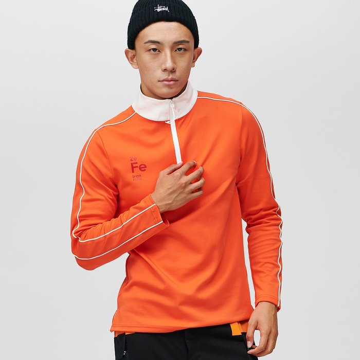 【OTOKO Men's Boutique】固制:白色立領健身衛衣/橘色(台灣獨家代理)