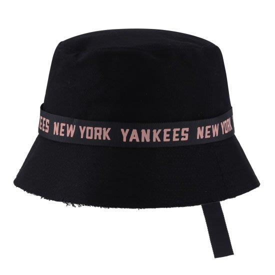 特價【韓Lin連線代購】韓國 MLB --粉帶YANKEES 黑色漁夫帽 CPH9 RIBBON TAPE HAT