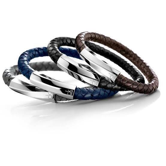 全新日本專櫃正品 Calvin Klein 黑色全牛皮編織質感手環 M/L號 附專櫃盒裝 紙袋