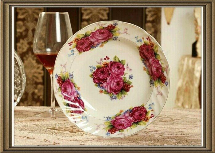 粉紅玫瑰精品屋~歐式高檔象牙瓷描金8吋盤~