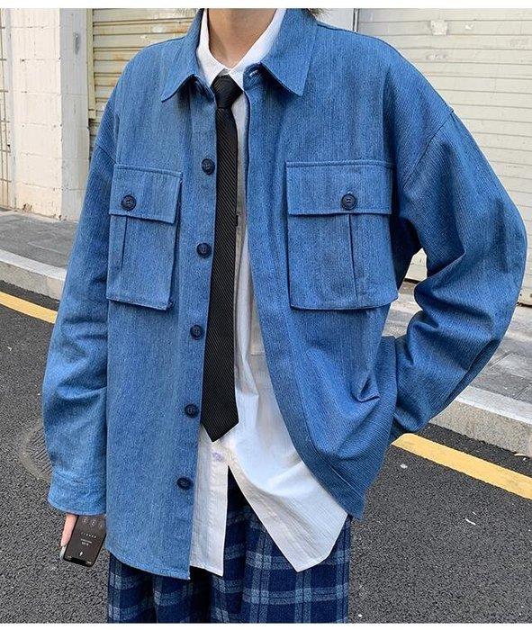 FINDSENSE X  男士 復古工裝外套男潮寬松日系休閑牛仔夾克情侶襯衫