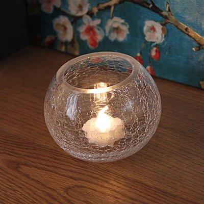 熱銷#簡約現代透明冰裂玻璃燭臺浪漫表白燭光晚餐酒吧餐廳擺設送電子蠟#燭臺#裝飾