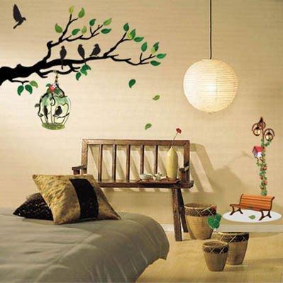 【皮蛋媽的私房貨】韓國進口壁貼&壁紙*室內設計/裝飾*綠樹鳥籠款