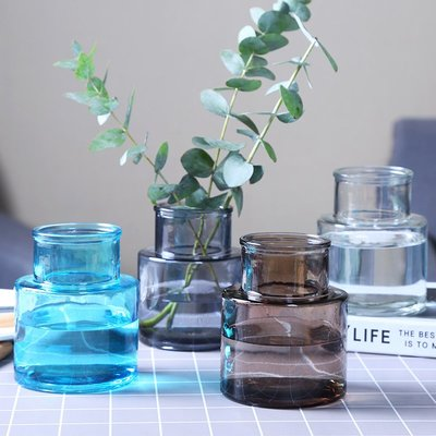 歐式花瓶歐式創意玻璃花瓶透明水培彩色工藝花瓶家用客廳擺件臺面插花花瓶