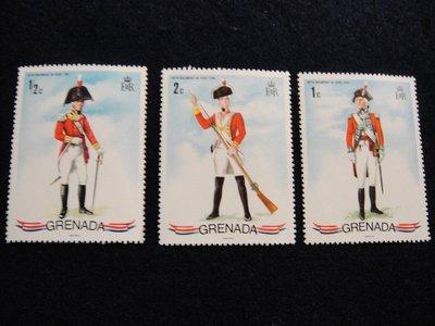 【大三元】非洲郵票-格瑞那達-郵票~新票3枚-原膠