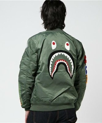 A BATHING APE BAPE BACK SHARK MA1 BOMBER JACKET 鯊魚 教練夾克 外套