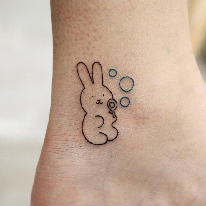 【萌古屋】】可愛吹泡泡兔子 - 防水紋身貼紙刺青貼紙 HC-3025