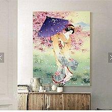 日式裝飾畫日本仕女圖巨幅掛畫料理店壽司店壁畫噴泉酒店裝飾畫(多款可選)