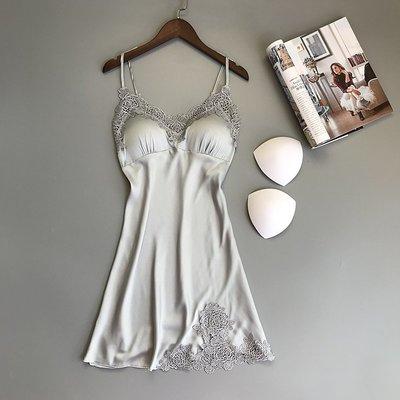 韓版刺繡蕾絲睡衣女 夏性感誘惑吊帶睡裙 有胸墊仿真絲綢家居服睡衣 睡袍 睡裙睡衣 睡袍 睡裙