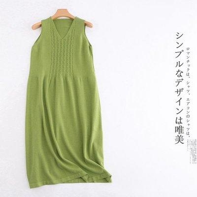 [ BARGAIN ] 全新,(綠色)經典森系麻花辮針織背心裙/ 連身裙