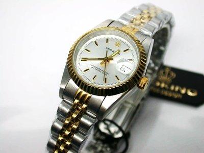 不鏽鋼日期顯示 銀白色面板 中金款女錶
